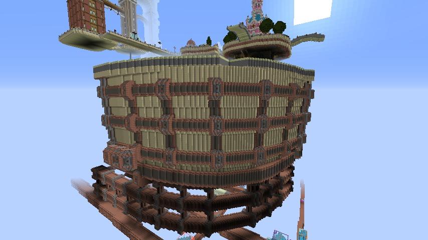 Minecrafterししゃもがマインクラフトで空中都市プコサヴィルの外殻を作る6