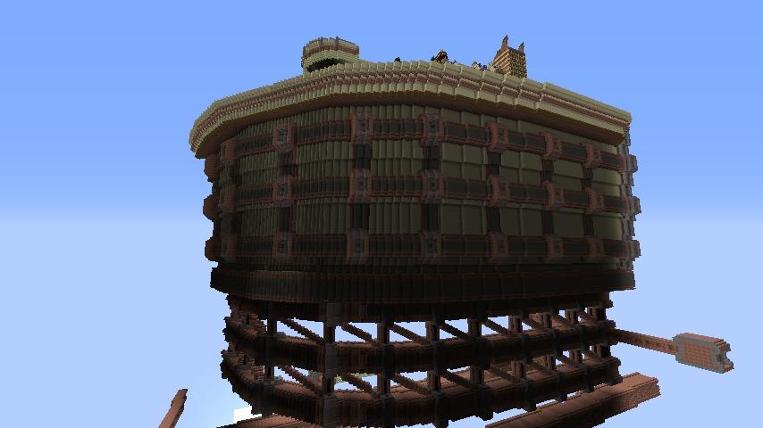 Minecrafterししゃもがマインクラフトで空中都市プコサヴィルの外殻を作る7