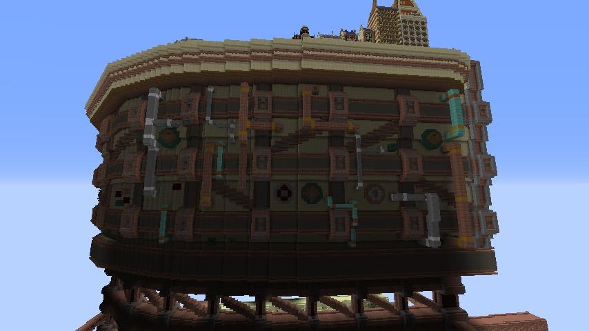 Minecrafterししゃもがマインクラフトで空中都市プコサヴィルの外殻を作る9