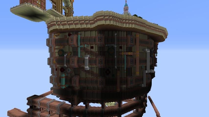 Minecrafterししゃもがマインクラフトで空中都市プコサヴィルの外殻を作る11