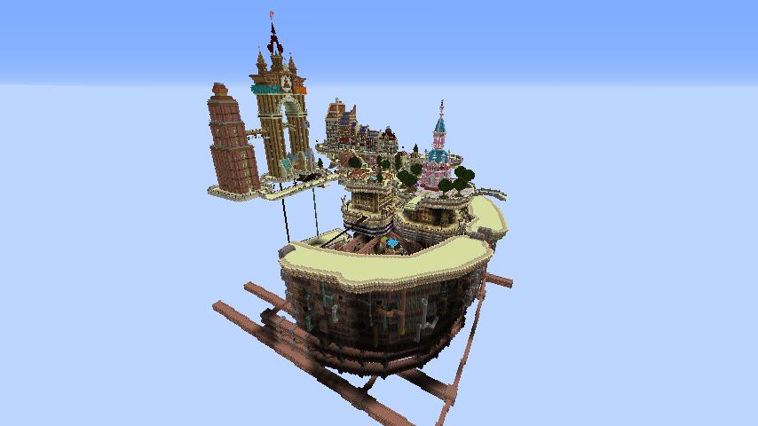 Minecrafterししゃもがマインクラフトで空中都市プコサヴィルの外殻を作る12