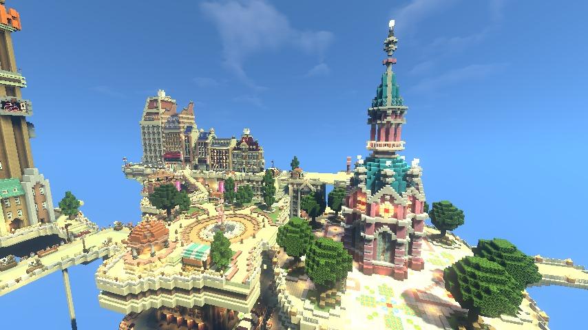 Minecrafterししゃもがマインクラフトで空中都市プコサヴィルの外殻を作る1