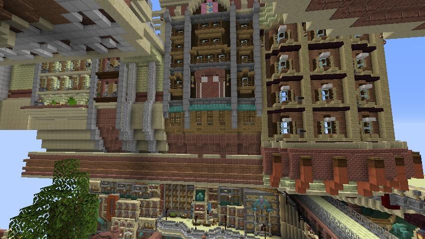 Minecrafterししゃもがマインクラフトでぷっこ村に空中都市プコサヴィルの街並みを作る3