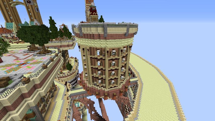 Minecrafterししゃもがマインクラフトでぷっこ村に空中都市プコサヴィルの街並みを作る2