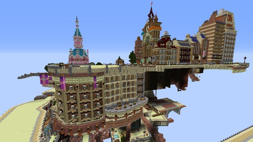 Minecrafterししゃもがマインクラフトでぷっこ村に空中都市プコサヴィルの街並みを作る4