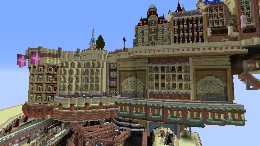 Minecrafterししゃもがマインクラフトでぷっこ村に空中都市プコサヴィルの街並みを作る6