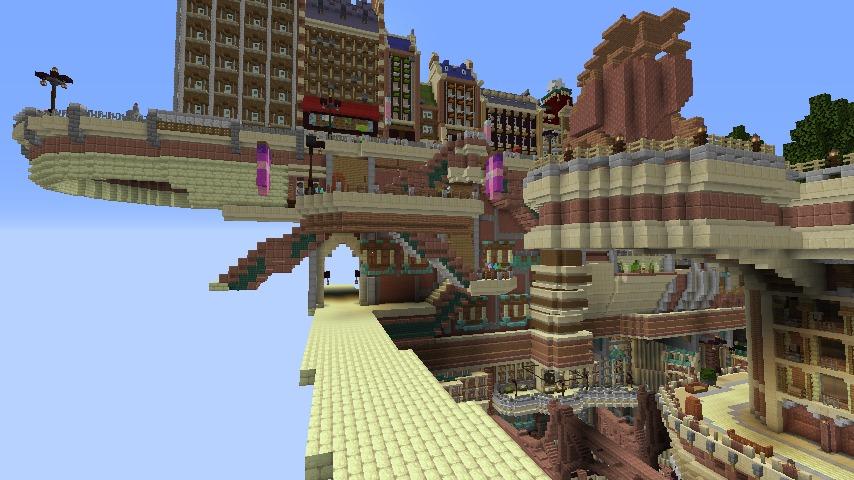 Minecrafterししゃもがマインクラフトでぷっこ村に空中都市プコサヴィルの街並みを作る8