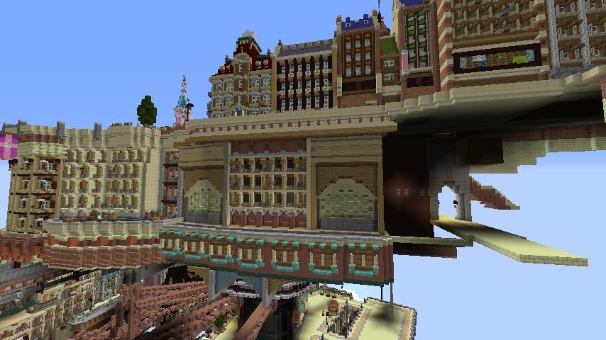 Minecrafterししゃもがマインクラフトでぷっこ村に空中都市プコサヴィルの街並みを作る7