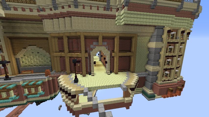 Minecrafterししゃもがマインクラフトでぷっこ村に空中都市プコサヴィルの街並みを作る9