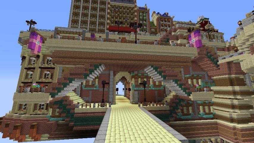 Minecrafterししゃもがマインクラフトでぷっこ村に空中都市プコサヴィルの街並みを作る10