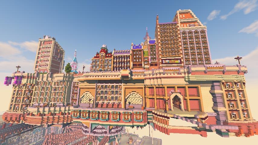 Minecrafterししゃもがマインクラフトでぷっこ村に空中都市プコサヴィルの街並みを作る13