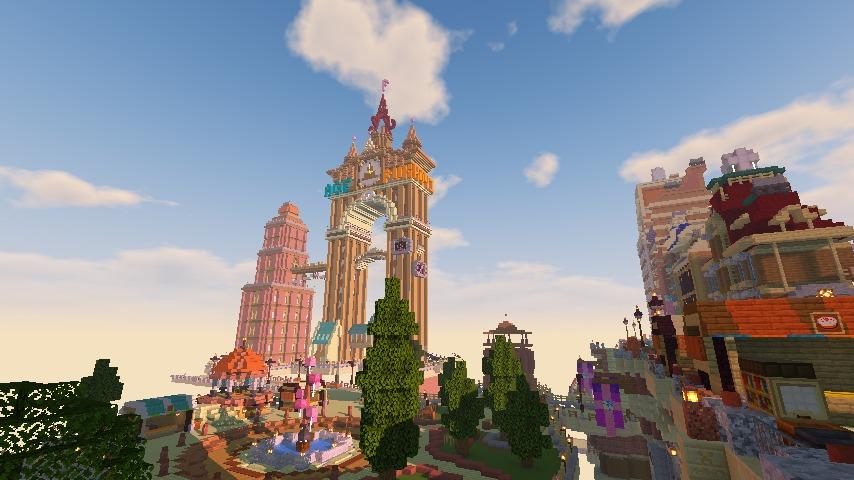 Minecrafterししゃもがマインクラフトでぷっこ村に空中都市プコサヴィルの街並みを作る14