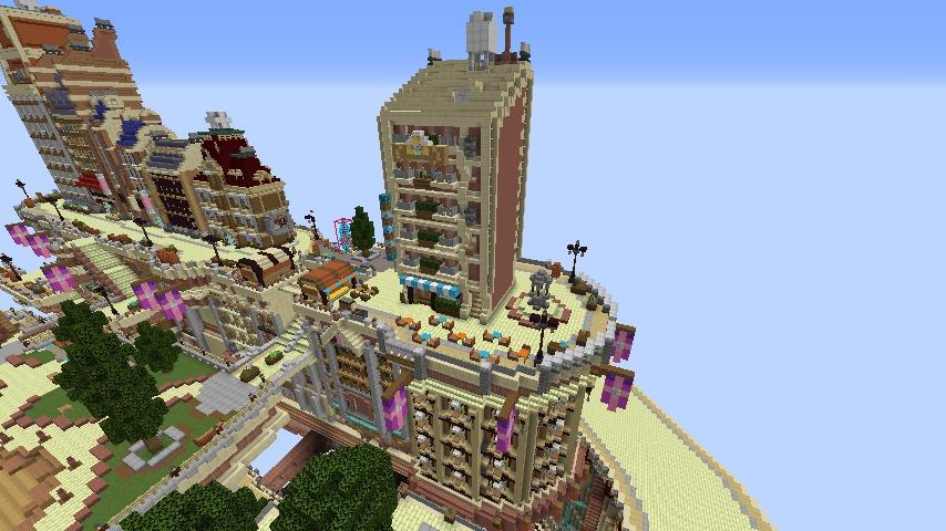 Minecrafterししゃもがマインクラフトでぷっこ村に空中都市プコサヴィルの街並みを作る11