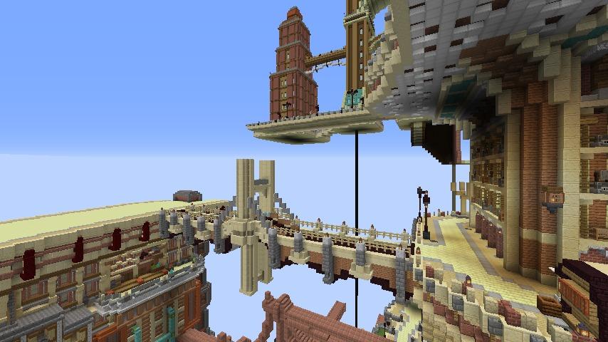 Minecrafterししゃもがマインクラフトでぷっこ村の空中都市プコサヴィルの街並みを作る2