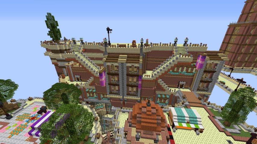 Minecrafterししゃもがマインクラフトでぷっこ村の空中都市プコサヴィルの街並みを作る3