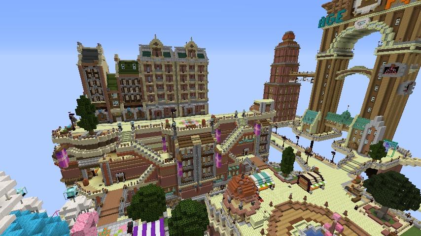 Minecrafterししゃもがマインクラフトでぷっこ村の空中都市プコサヴィルの街並みを作る4