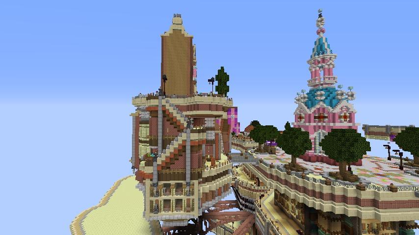 Minecrafterししゃもがマインクラフトでぷっこ村の空中都市プコサヴィルの街並みを作る5