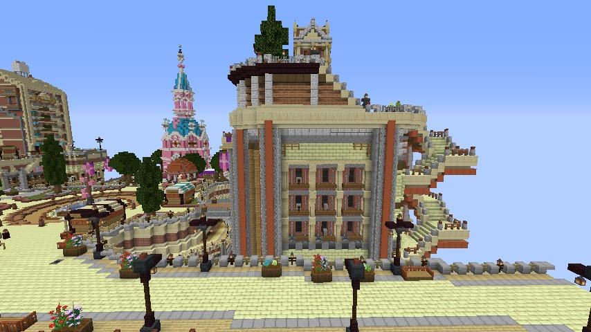 Minecrafterししゃもがマインクラフトでぷっこ村の空中都市プコサヴィルの街並みを作る6