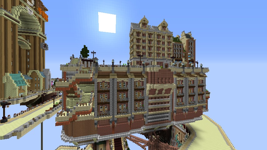 Minecrafterししゃもがマインクラフトでぷっこ村の空中都市プコサヴィルの街並みを作る7