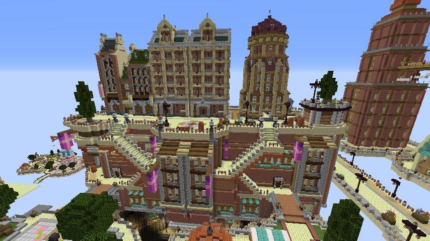 Minecrafterししゃもがマインクラフトでぷっこ村の空中都市プコサヴィルの街並みを作る9