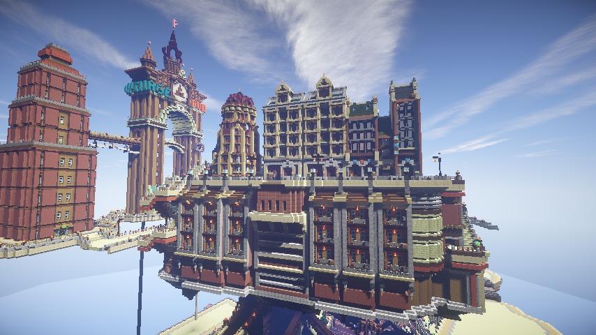 Minecrafterししゃもがマインクラフトでぷっこ村の空中都市プコサヴィルの街並みを作る14