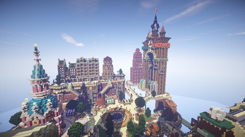 Minecrafterししゃもがマインクラフトでぷっこ村の空中都市プコサヴィルの街並みを作る13