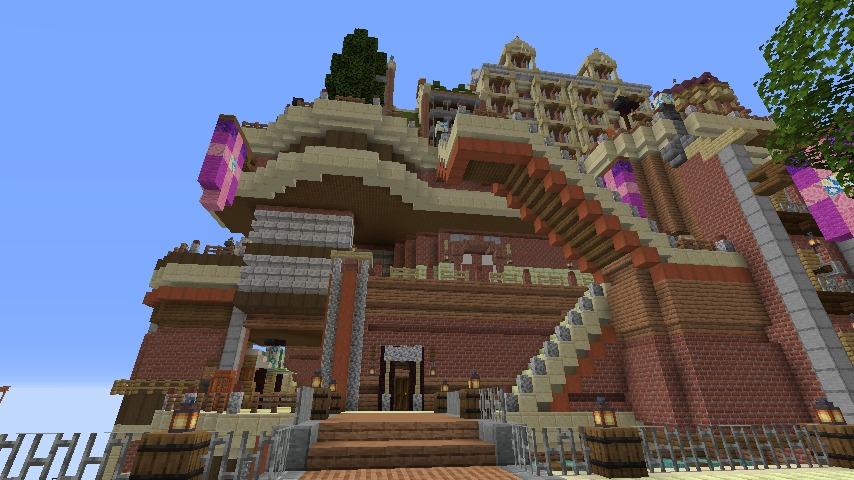 Minecrafterししゃもがマインクラフトでぷっこ村の空中都市プコサヴィルの街並みを作る10
