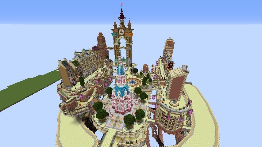 Minecrafterししゃもがマインクラフトでぷっこ村の空中都市プコサヴィルの街並みを作る12