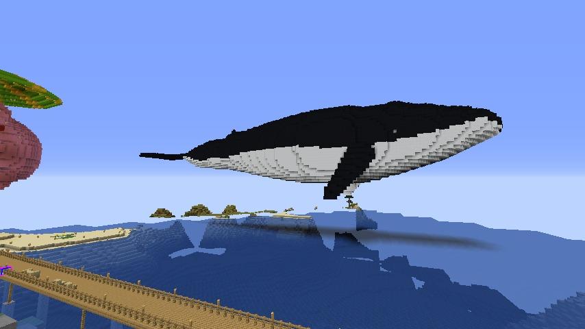 Minecrafterししゃもがマインクラフトでぷっこ村にいるクジラさんを痩せさせる1