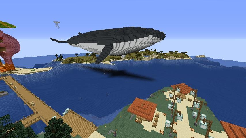 Minecrafterししゃもがマインクラフトでぷっこ村にいるクジラさんを痩せさせる6