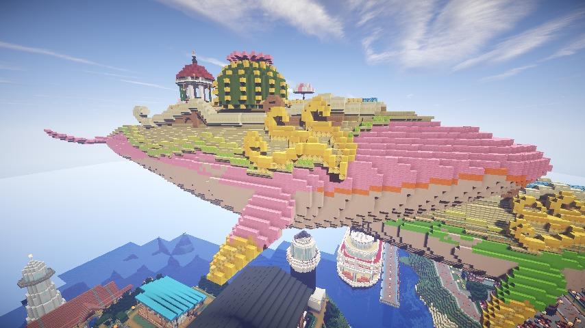 Minecrafterししゃもがマインクラフトでぷっこ村の守り神のイニシエクジラを紹介する2
