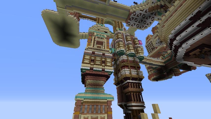 Minecrafterししゃもがマインクラフトでぷっこ村の空中都市を発展させる5