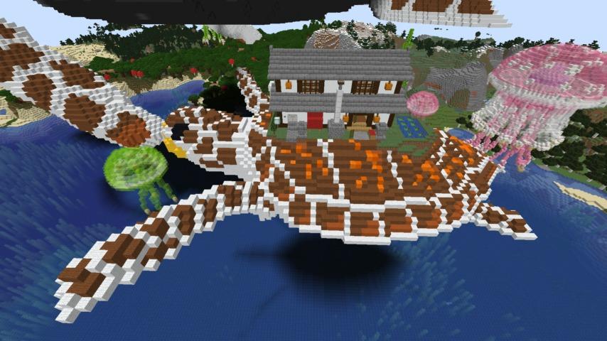 Minecrafterししゃもがマインクラフトでぷっこ村に生息するイエガメの生態を解説する6