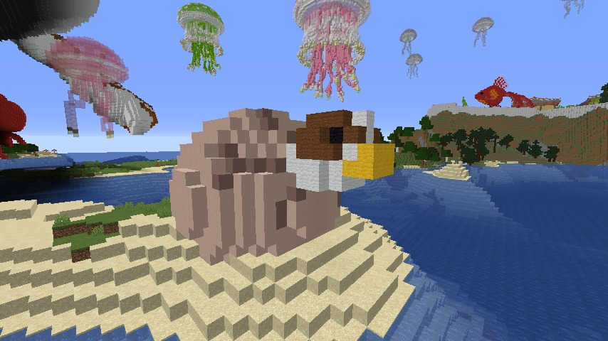 Minecrafterししゃもがマインクラフトでぷっこ村に生息するイエガメの生態を解説する3