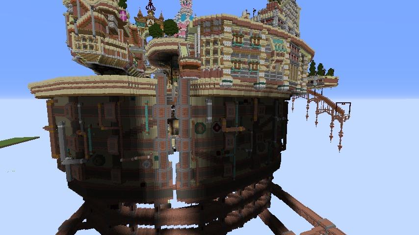 Minecrafterししゃもがマインクラフトでぷっこ村の空中都市プコサヴィルの南東側を建築する5