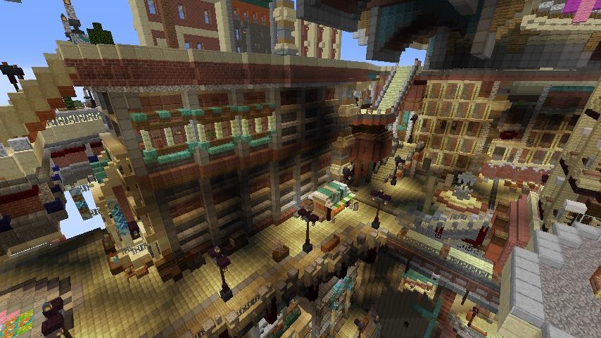 Minecrafterししゃもがマインクラフトでぷっこ村の空中都市プコサヴィルの南東側を建築する6