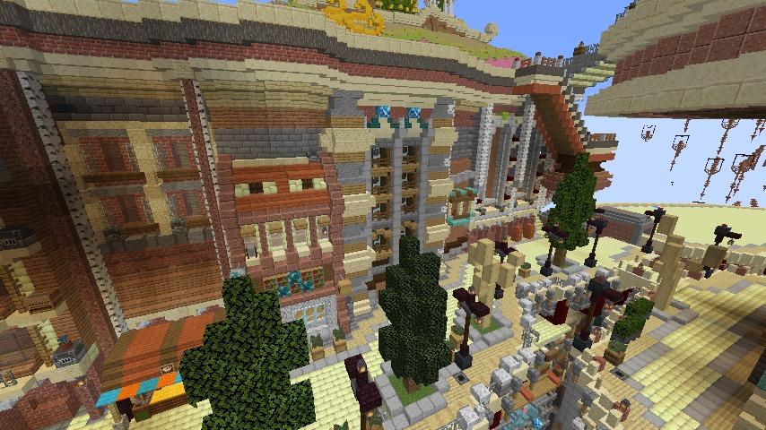 Minecrafterししゃもがマインクラフトでぷっこ村の空中都市プコサヴィルの南東側を建築する7