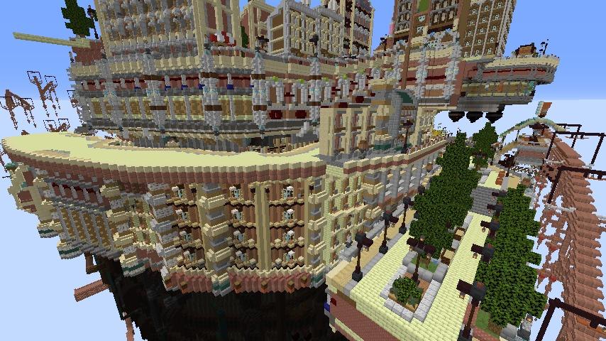 Minecrafterししゃもがマインクラフトでぷっこ村にあるプコサヴィルの外殻の続きを作る1
