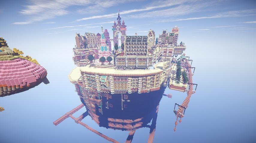 Minecrafterししゃもがマインクラフトでぷっこ村の空中都市プコサヴィルの南東側を建築する9