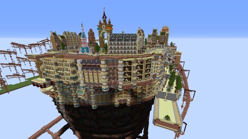 Minecrafterししゃもがマインクラフトでぷっこ村にあるプコサヴィルの外殻の続きを作る3
