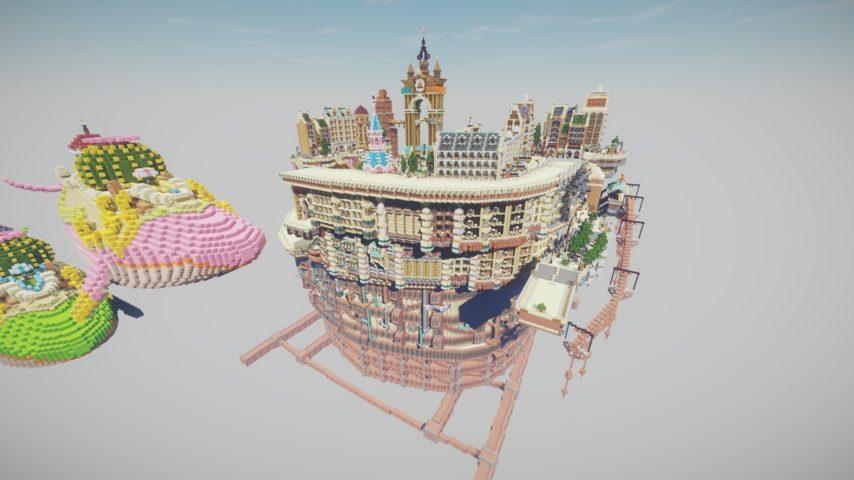 Minecrafterししゃもがマインクラフトでぷっこ村にあるプコサヴィルの外殻の続きを作る5