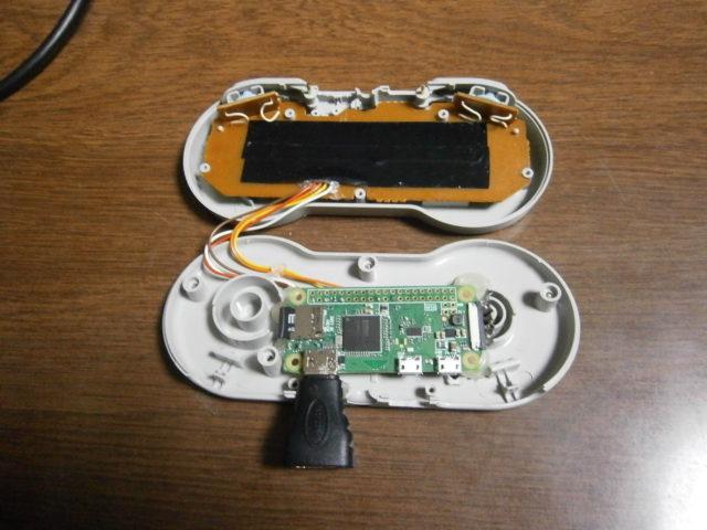 ラズパイzeroをスーファミコントローラーに内蔵したエミュレーター