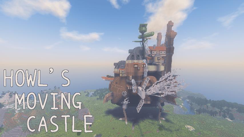Minecrafterししゃもがマインクラフトでぷっこ村にジブリのハウルの動く城を再現する11