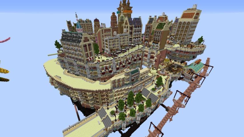 Minecrafterししゃもがマインクラフトでぷっこ村の空中都市プコサヴィルの東側を作る3