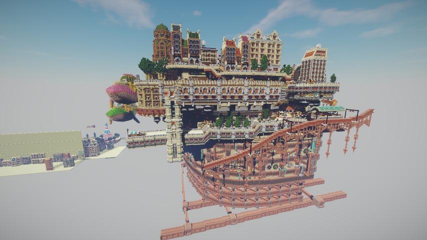 Minecrafterししゃもがマインクラフトでぷっこ村の空中都市プコサヴィルの東側を作る4