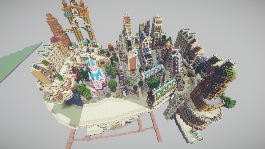 Minecrafterししゃもがマインクラフトでぷっこ村の空中都市プコサヴィルの東側を作る5