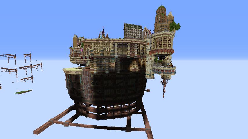 Minecrafterししゃもがマインクラフトでぷっこ村の空中都市プコサヴィルの南駅を作るよ2