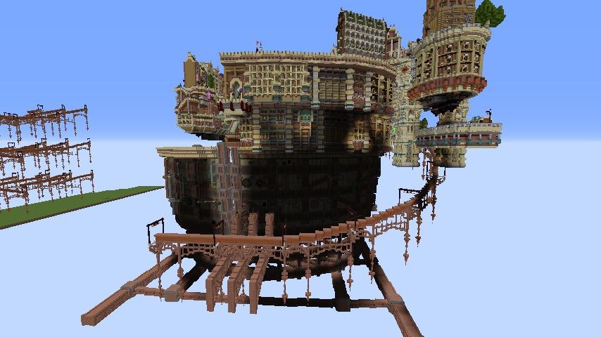 Minecrafterししゃもがマインクラフトでぷっこ村の空中都市プコサヴィルの南駅を作るよ3