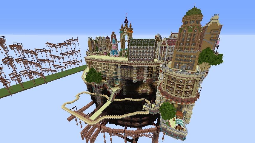 Minecrafterししゃもがマインクラフトでぷっこ村の空中都市プコサヴィルの南駅を作るよ4