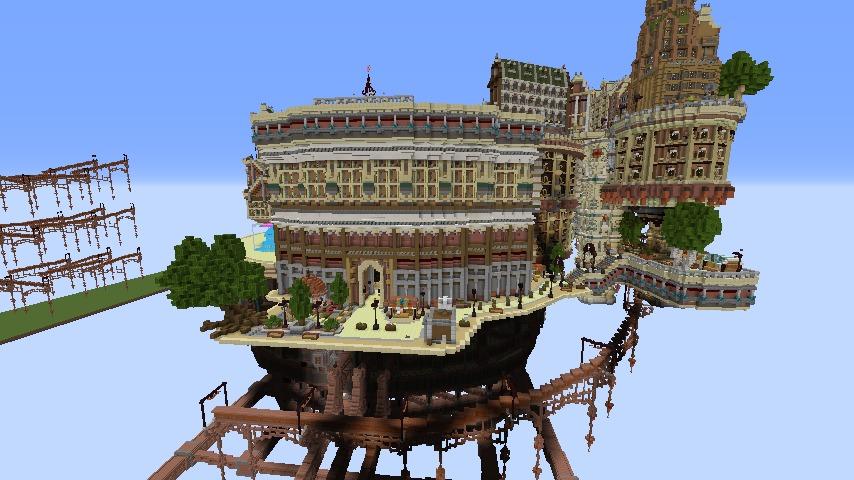 Minecrafterししゃもがマインクラフトでぷっこ村の空中都市プコサヴィルの南駅を作るよ5